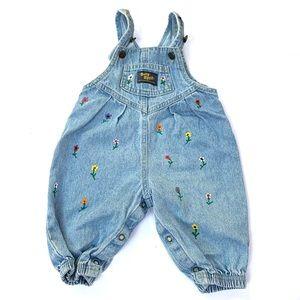 🌸🌵🌼VTG Baby Overalls W/ Handpainted Flowers